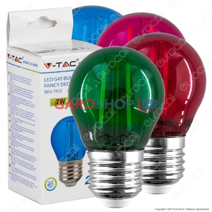 Immagine di V-TAC VT-2132 LAMPADINA LED E27 2W MINIGLOBO G45 COLORATA FILAMENT