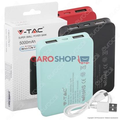 Immagine di V-TAC VT-3503 POWER BANK PORTATILE 5000 MAH 2 USCITE USB 2,1A