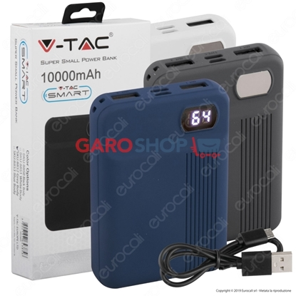 Immagine di V-TAC VT-3504 POWER BANK PORTATILE 10000 MAH 2 USCITE USB 2,1A
