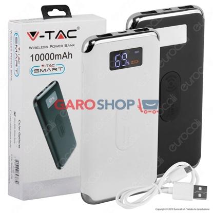 Immagine di V-TAC VT-3505 POWER BANK CON RICARICA WIRELESS 10000 MAH 2 USCITE USB 2,1A