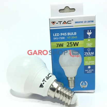 V-TAC VT-2043 LAMPADINA LED E14 3W MINIGLOBO P45