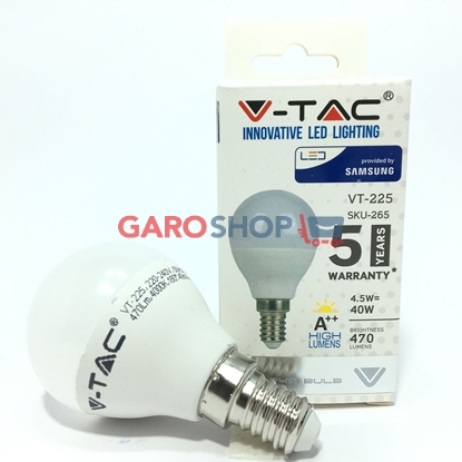 V-TAC PRO VT-225 LAMPADINA LED E14 4,5W MINIGLOBO P45 CHIP SAMSUNG