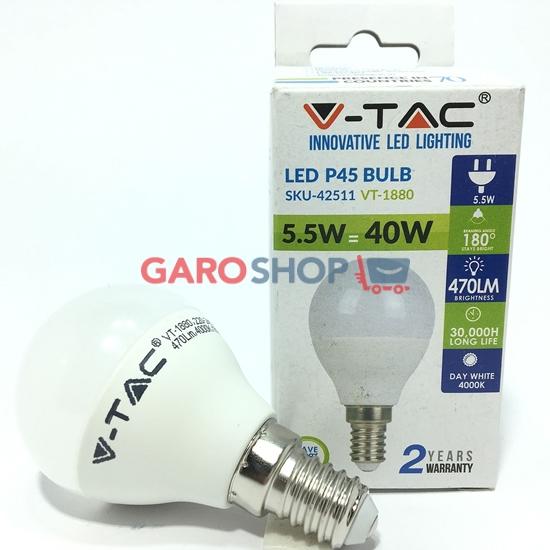 V-TAC VT-1880 LAMPADINA LED E14 5,5W MINIGLOBO P45