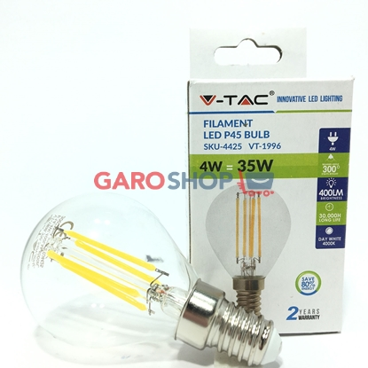 V-TAC VT-1996 LAMPADINA LED E14 4W MINIGLOBO FILAMENTO P45