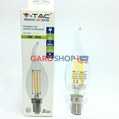 V-TAC VT-1997 LAMPADINA LED E14 4W CANDELA FIAMMA FILAMENTO