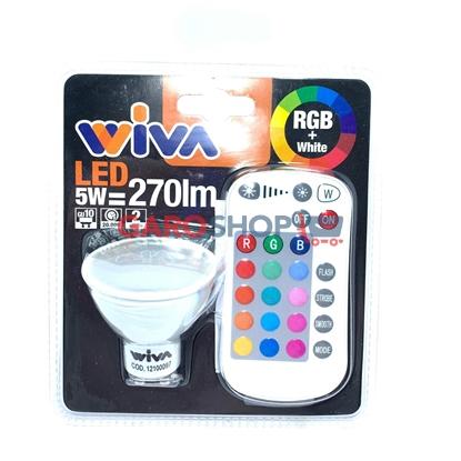 WIVA LAMPADINA LED GU10 5W FARETTO SPOTLIGHT RGB+W CON TELECOMANDO 120°
