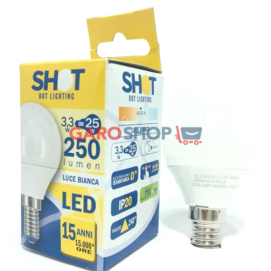 BOT LIGHTING SHOT LAMPADINA LED E14 3,3W MINIGLOBO P45